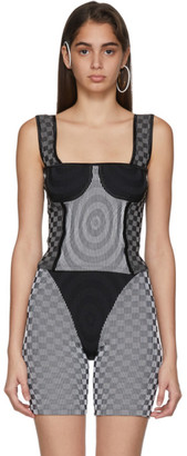Paolina Russo SSENSE Exclusive White and Grey Illusion Knit Bullseye Bustier Tank Top