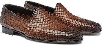 Santoni Woven Burnished-Leather Loafers - Men