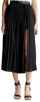 Halston Pleated Side Slit Skirt
