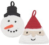 Now Designs Animal Tawashi Dishcloth Scrubbers, Set of Two, Sophie Snowman and St Nick