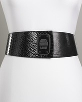 Women's Crinkled Patent Leather Wide Belt