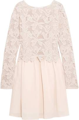 See by Chloe Layered Guipure Lace And Cotton-voile Mini Dress
