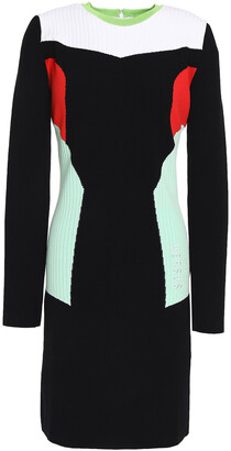 Versus By Versace Color-block Ribbed-knit Mini Dress