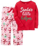 """Carter's Girls 4-14 """"Santa's Little Helper"""" Graphic Top & Print Fleece Pants Pajama Set"""