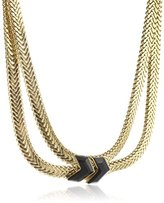 Wouters & Hendrix Women's Yellow Gold Plated 925 Sterling Silver and Copper V-Shaped Onyx Necklace of 44 cm