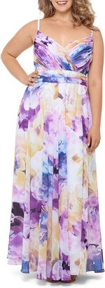 Xscape Evenings Pleated Floral Chiffon A-Line Gown