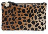 Clare Vivier 'Core' Leopard Print Genuine Calf Hair Pouch - Brown
