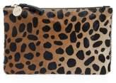 Clare Vivier 'Core' Leopard Print Genuine Calf Hair Pouch