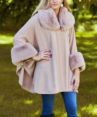 JC Sunny Women's Kimono Cardigans - Pink Faux Fur Collar Handkerchief Hem Cardigan - Women