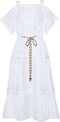 Peter Pilotto Cold-shoulder Pintucked Cotton-poplin Dress