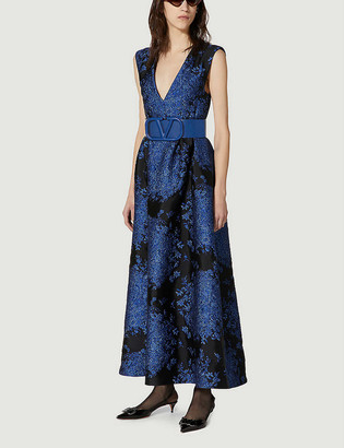 Valentino Sleeveless V-neck floral-brocade gown