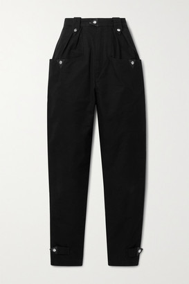 Etoile Isabel Marant Pulcie Suede-trimmed Cotton Tapered Pants - Black