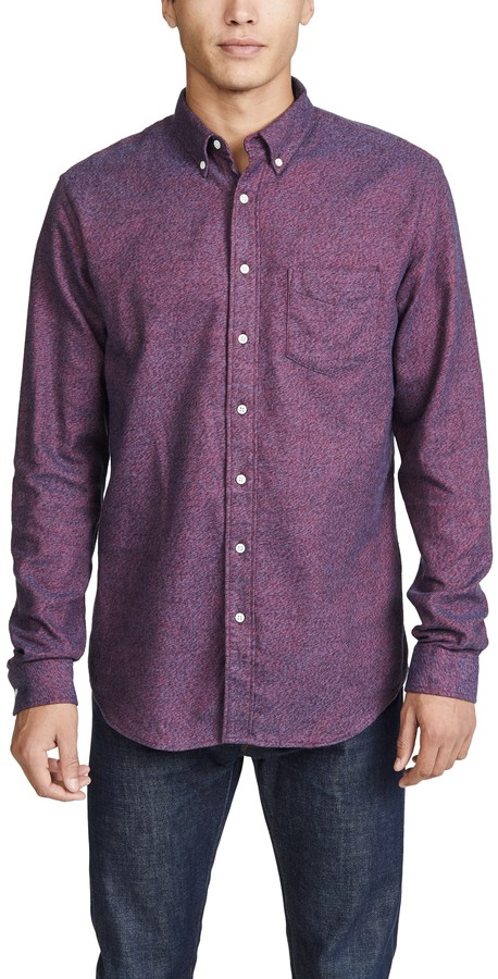 Schnaydermans Schnayderman's Button Down Melange Flannel Shirt