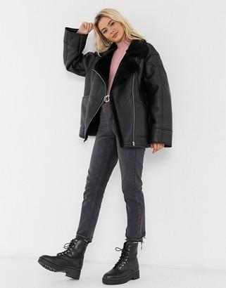 ASOS DESIGN borg aviator jacket in black