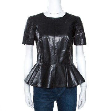 McQ Black Leather Peplum Top M