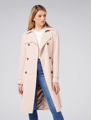 Forever New Juliana Petite Longline Textured Trench Coat - Blush Pearl - 12
