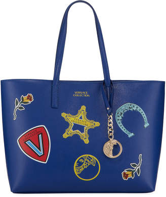 Versace Large Logo Patches Shopper Tote Bag, Blue