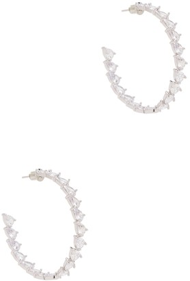 Fallon Jagged Pear Crystal-embellished Hoop Earrings