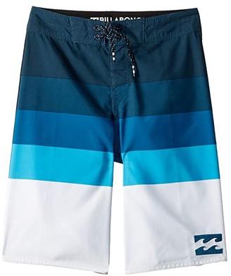 Billabong Kids Midway Stripe Boardshorts (Big Kids) (Blue) Boy's Swimwear