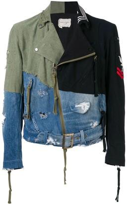 Greg Lauren Contrast Panel Destroyed Denim Jacket