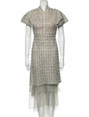 Sandra Mansour Lace Pattern Knee-Length Dress w/ Tags Metallic