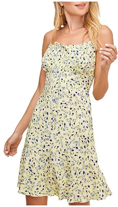 ASTR the Label Chalet Dress (Lemon Cobalt Floral) Women's Dress