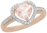 Savvy Cie 18K Rose Gold Vermeil Prong Set Morganite & Pave Diamond Heart Ring