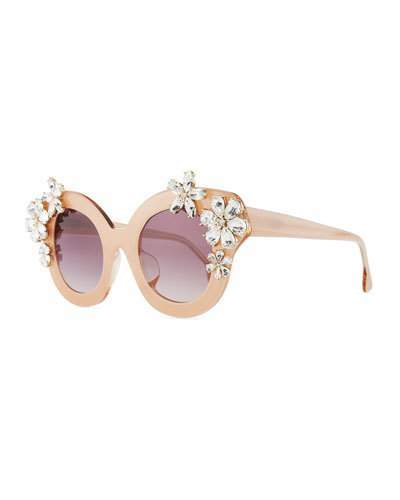 Alice + Olivia Madison Floral Swarovski® Cat-Eye Sunglasses, Blush