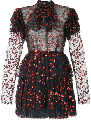 macgraw Heart Embellished Frill Dress