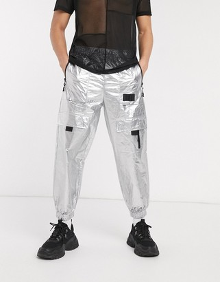 ASOS DESIGN co-ord oversized tapered tech joggers with contrast zips in silver