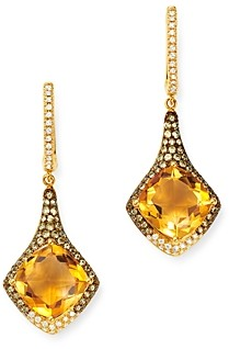 Bloomingdale's Citrine, Diamond & Yellow Sapphire Drop Earrings in 14K Yellow Gold - 100% Exclusive