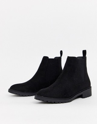 New Look suedette flat chelsea boots in black
