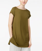Eileen Fisher Stretch Jersey Boat-Neck Cap-Sleeve Tunic