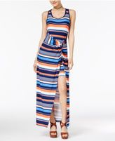 Planet Gold Striped Twist-Waist Dress