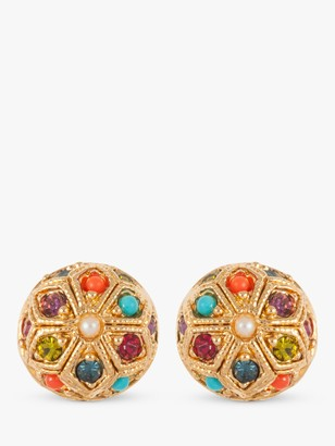 Susan Caplan Vintage D'Orlan 22ct Gold Plated Lucite Faux Pearl and Swarovski Crystal Disc Clip-On Earrings, Gold/Multi