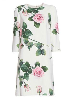 Dolce & Gabbana Tropical Rose Print Stretch Cady Dress