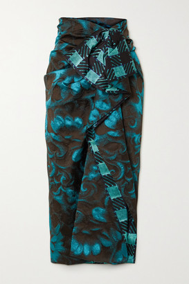 Dries Van Noten Ruffled Satin-trimmed Floral-jacquard Midi Skirt - Turquoise