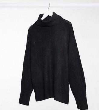 New Look Plus New Look Curve longline volume sleeve slouchy roll neck jumper in black