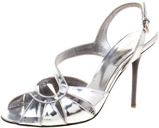 Sebastian Metallic Silver Leather Slingback Sandals Size 36.5
