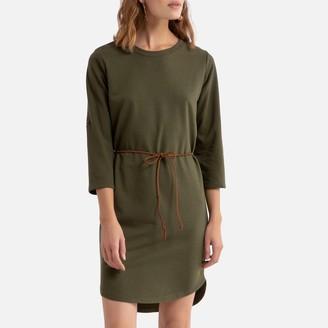 Jacqueline De Yong Tie-Waist Mini Dress with 3/4 Length Sleeves