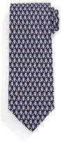 Salvatore Ferragamo Owl-Print Silk Tie, Gray/Pink