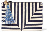 Clare Vivier Striped Cotton-canvas Clutch - Navy