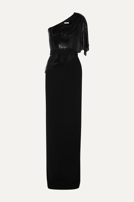 Safiyaa Meraki One-shoulder Crepe And Chainmail Gown - Black