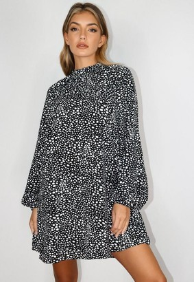 Missguided Black Dalmatian Print High Neck Shift Dress