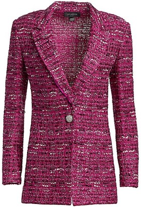St. John Opulent Textured Tweed Knit Jacket