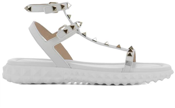 Valentino White Leather Sandals