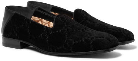 Gucci Collapsible-Heel Leather-Trimmed Logo-Embroidered Velvet Loafers