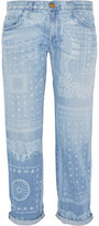 Current/Elliott The Boyfriend Cropped Printed Mid-Rise Jeans