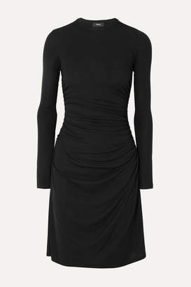 Theory Ruched Stretch-jersey Dress - Black
