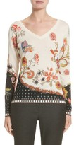 Etro Women's Stampa Croce Silk & Cashmere V-Neck Sweater